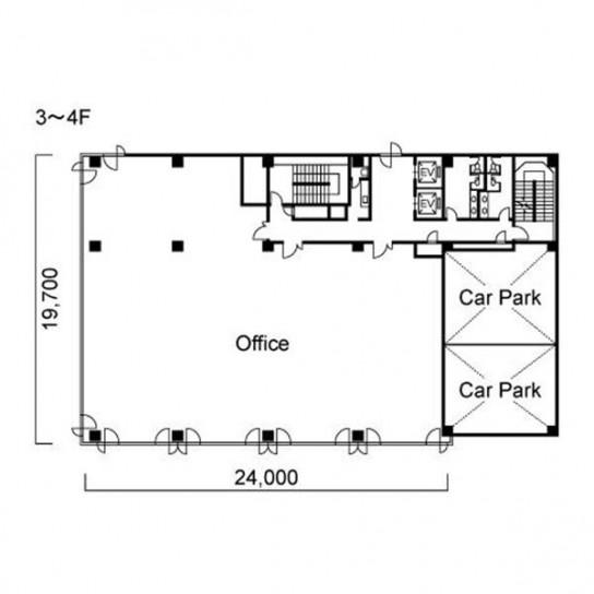 3階〜4階 平面図