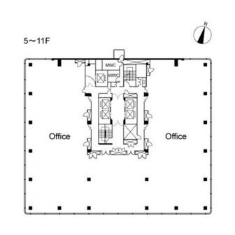 5階〜11階 平面図
