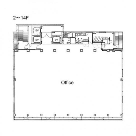 2階〜14階 平面図