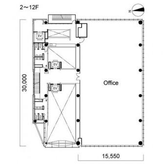 2階〜12階 平面図