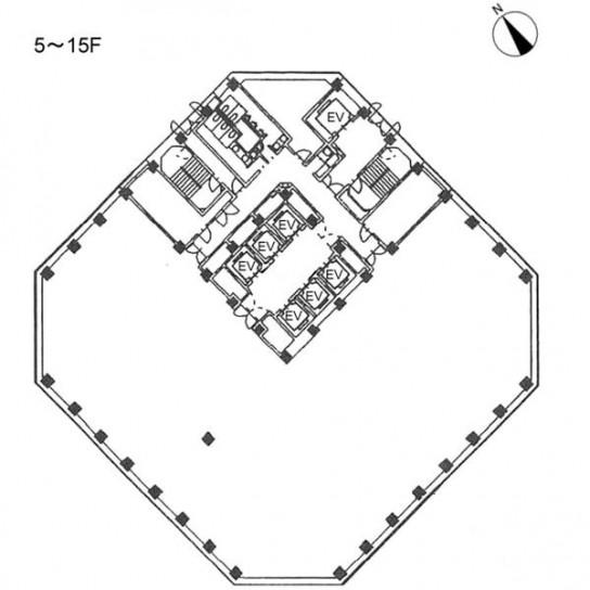 5階〜15階 平面図