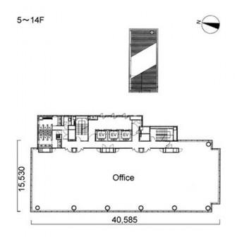 5階〜14階 平面図