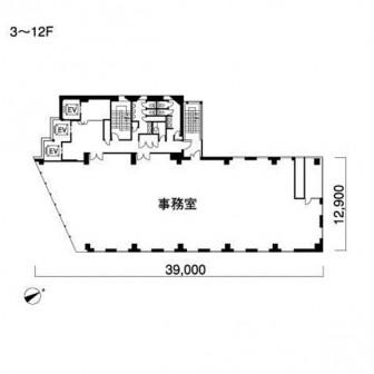 3階〜12階 平面図